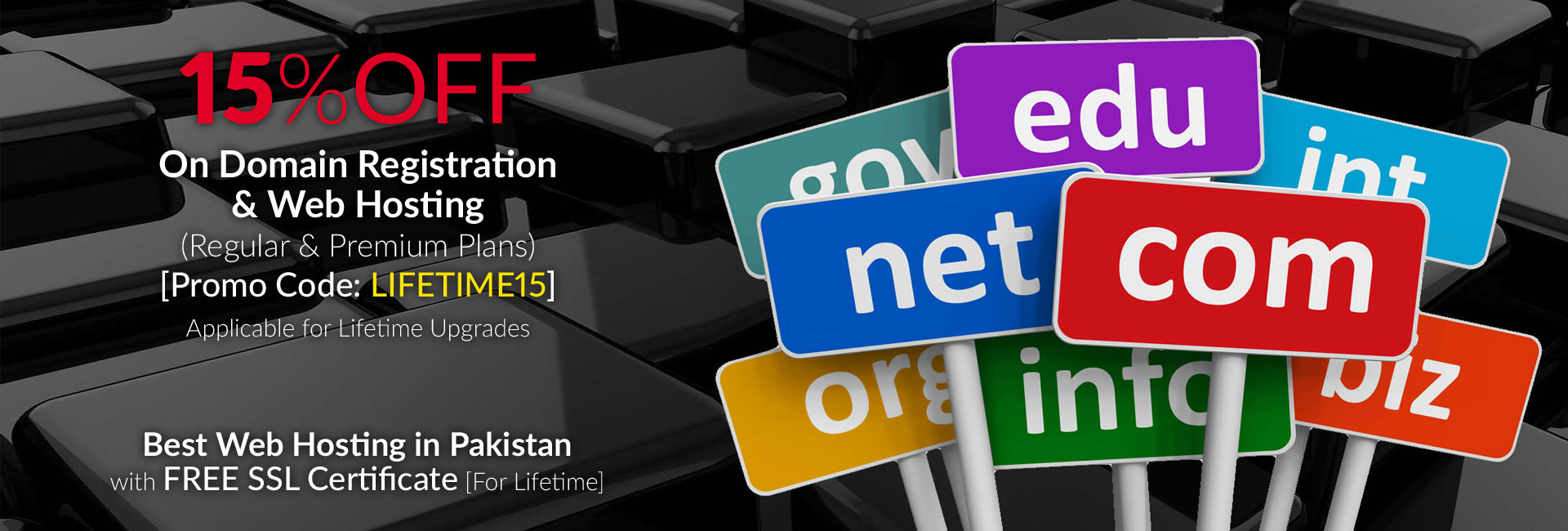15 Percent OFF on Domain Registration and Web Hosting in Pakistan