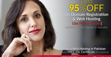 Upto 95 Percent OFF on Domain Registration and Web Hosting in Pakistan
