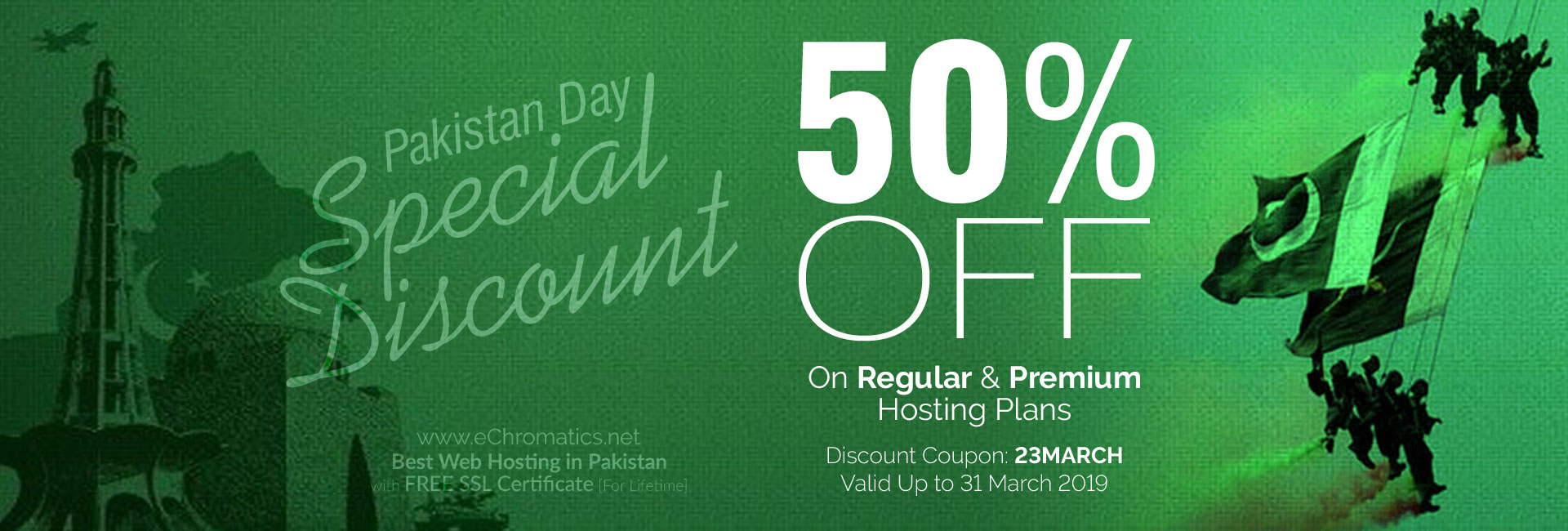 Special 50% OFF on Regular & Premium Web Hosting Plans eChromatics Web Solutions 23 March 2019