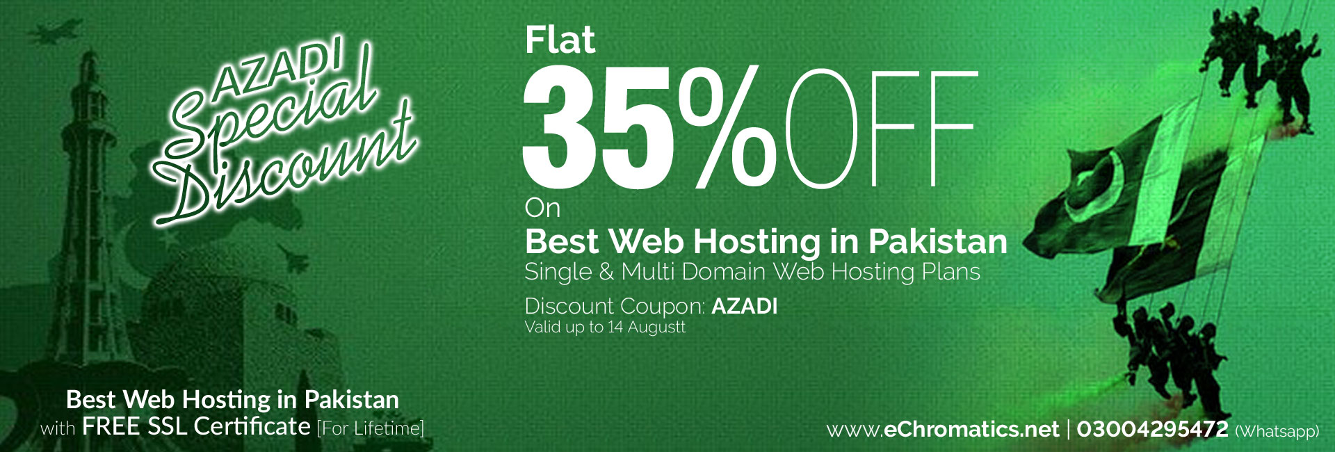 Azadi Offer Special Discount on Best Web Hosting in Pakistan
