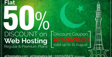 Azadi Discount offer 50% OFF on Web Hosting